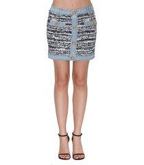 balmain tweed & denim skirt