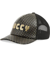 gucci 2018 logo leather baseball cap black, gold sz: