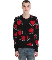 amiri hearts intarsia cardigan in black wool