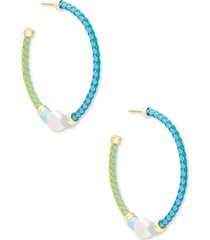 kendra scott 14k gold-plated medium stone bead & genuine pearl (9-12mm) braided leather open hoop earrings, 1.5""