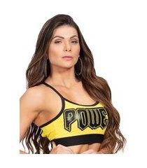 top poliamida amarelo com silk power
