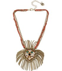 """betsey johnson lion pendant necklace in gold-tone metal, 15"""" + 3"""" extender"""