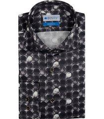 bos bright blue overhemd met -witte print 7-13/0020