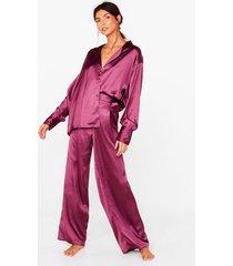 womens i have a dream oversized satin pajama set - plum
