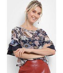 blusa top moda floral manga babados feminina
