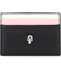 alexander mcqueen skull multicolor leather card holder
