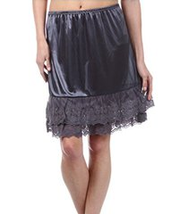 melody womens lace extender slip skirt half slip (medium, charcoal grey)