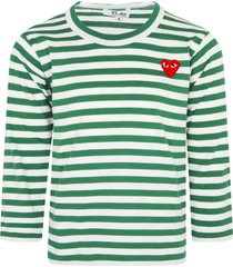 comme des garçons play white and green striped t-shirt with heart