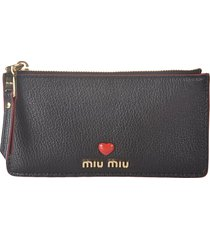 miu miu heart embellished logo plaque card holder