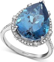 effy london blue topaz (9-1/10 ct. t.w.) & diamond (1/3 ct. t.w.) pear statement ring in 14k white gold
