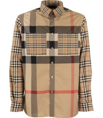 burberry patchwork check stretch cotton shirt tisford arc. beige