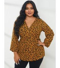 yoins plus talla leopardo con cuello en v diseño abrigo diseño blusa de manga larga