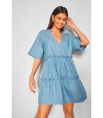 chambray tiered mini dress, mid blue