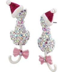 betsey johnson festive pave cat earrings