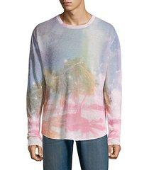beach-print linen sweater
