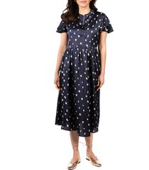 women's loyal hana lily flutter sleeve maternity midi dress, size small - blue