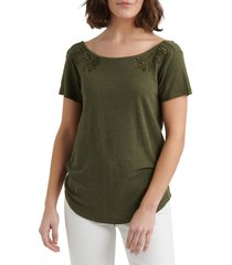 women's lucky brand eyelet scoop back linen blend top, size small - green