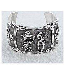 sterling silver cuff bracelet, 'skeletal hat dance' (mexico)