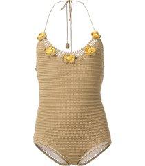 alanui crochet swimsuit - neutrals