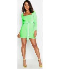 neon rib square neck belted bodycon dress, neon-green