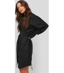 na-kd trend lace up shirt dress - black