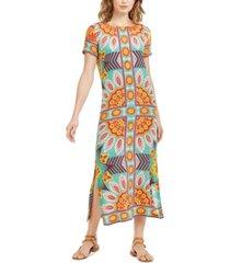 weekend max mara printed side-vent silk maxi dress