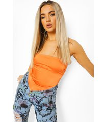 satijnen off shoulder crop top, orange