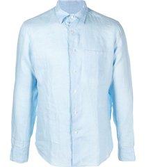 peninsula swimwear crinkled effect chest pocket shirt - blue