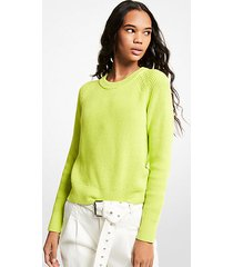 mk pullover in cotone a coste - brt limeade - michael kors