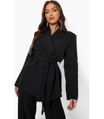 oversized getailleerde blazer met ceintuur, black