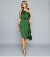 reiss aya - draped satin midi dress in green, womens, size 14