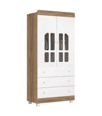 roupeiro 2 portas katatau branco brilho/mezzo reller móveis