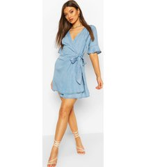 chambray tie wrap skater dress, mid blue