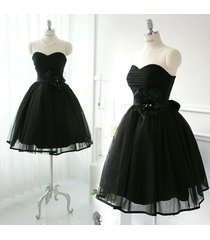 elegant sweetheart short tulle black homecoming formal party dress/cocktaildress