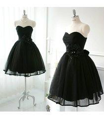 elegant sweetheart short tulle black homecoming formal party dress/cocktaildress