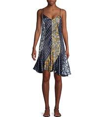 printed & fluted slip dress