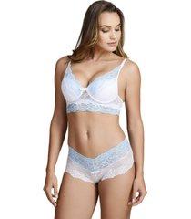 conjunto de lingerie em renda com suti㣠com bojo ms fashion branco e azul - branco - feminino - renda - dafiti