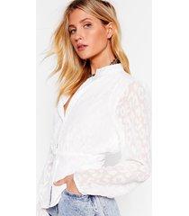 womens be wild chiffon leopard blouse - white