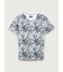 camiseta oversize estampado periódico para mujer freedom 01813