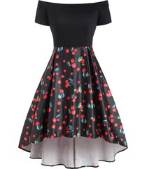 cherry print off shoulder high low party dress