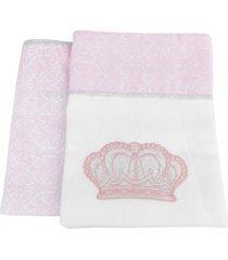 kit 2 mantas cueiros princesa rosa reininho classic - rosa - menina - dafiti