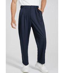 hombre vendimia zipper fly anchos cintura alta casual pantalones