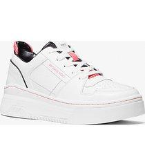 mk sneaker lexi in pelle e mesh bicolore - bianco ottico/nero (nero) - michael kors