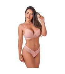 conjunto lingerie vip lingerie microfibra e renda francesa rosa