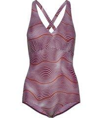 crossback printed baddräkt badkläder lila speedo