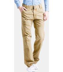 pantaloni casual da uomo con cerniera tinta unita in cotone carico pantaloni