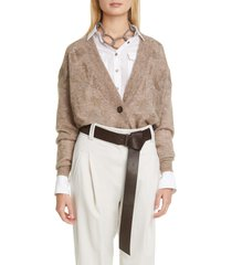 women's brunello cucinelli floral embellished mohair & alpaca blend cardigan, size small - brown