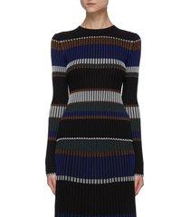 horizontal stripe pleated rib knit sweater