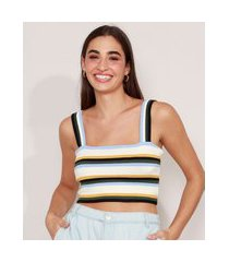 top cropped de tricô listrado alça larga decote reto off white