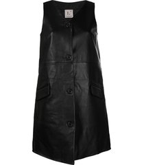 l'autre chose button front a-line dress - black